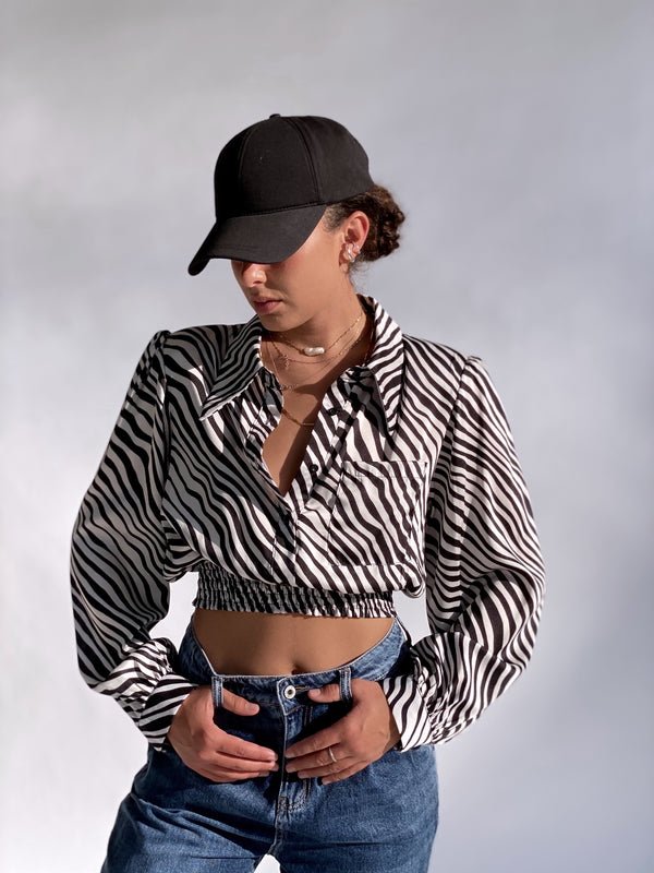 ZEBRA TOP WITH SHIRRED WAIST