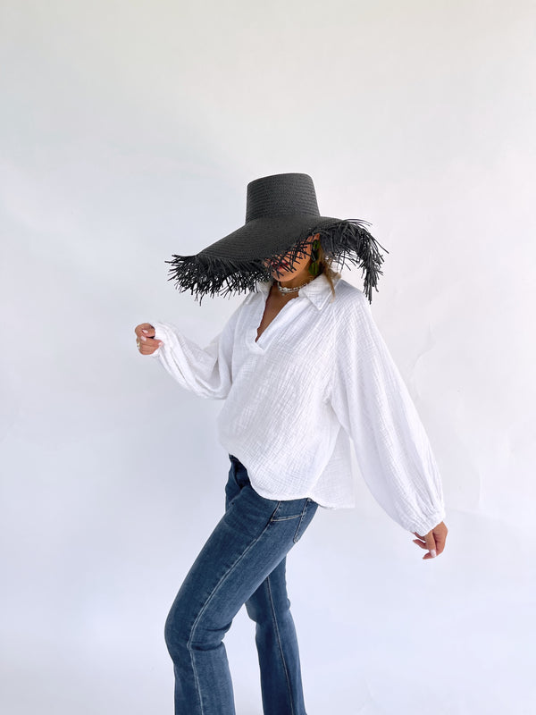 OVERSIZED COTTON TOP IN WHITE