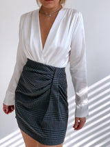 TAILORED SKIRT IN LIGHT BLUE & GREY CHECK