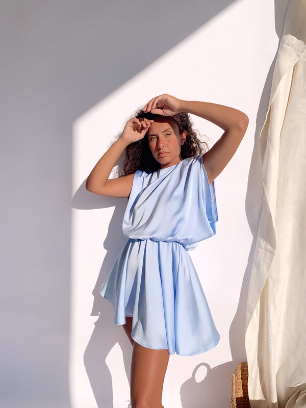 SHOULDER PAD DRESS IN LIGHT BLUE