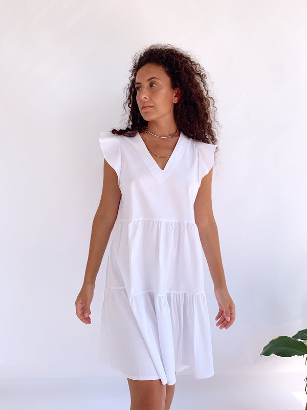 V NECK FRILL SLEEVE SMOCK DRESS
