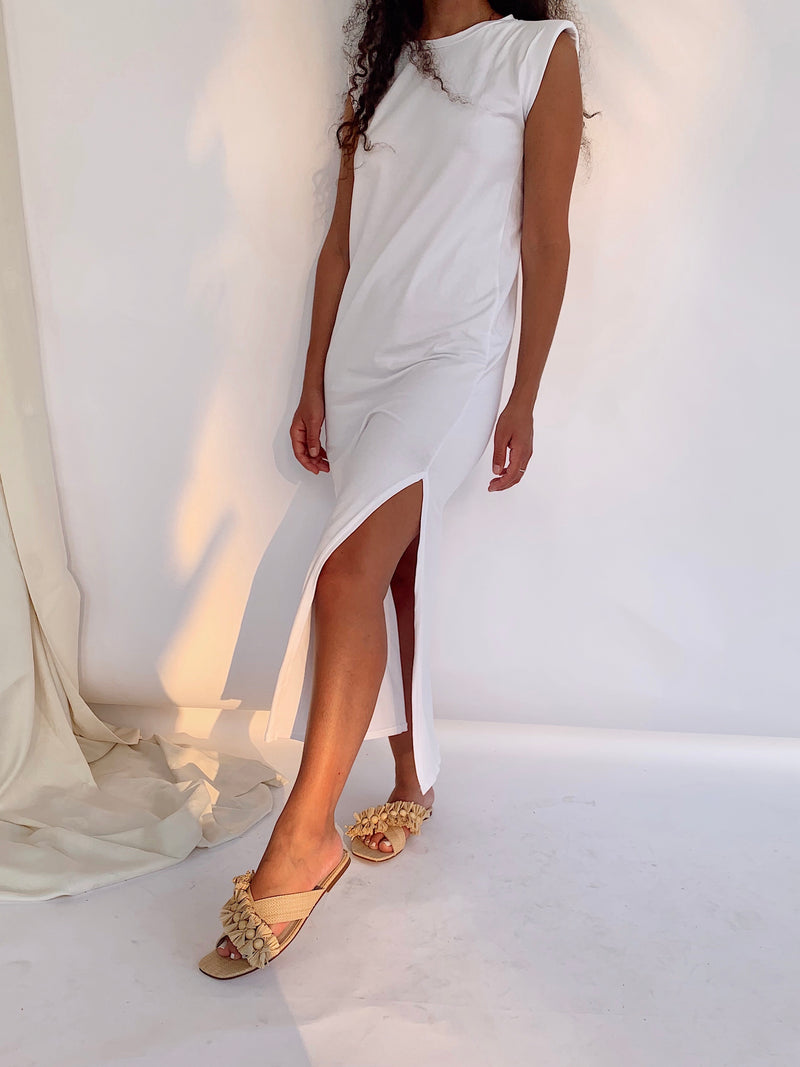 SHOULDER PAD MAXI DRESS WITH SIDE SPLIT