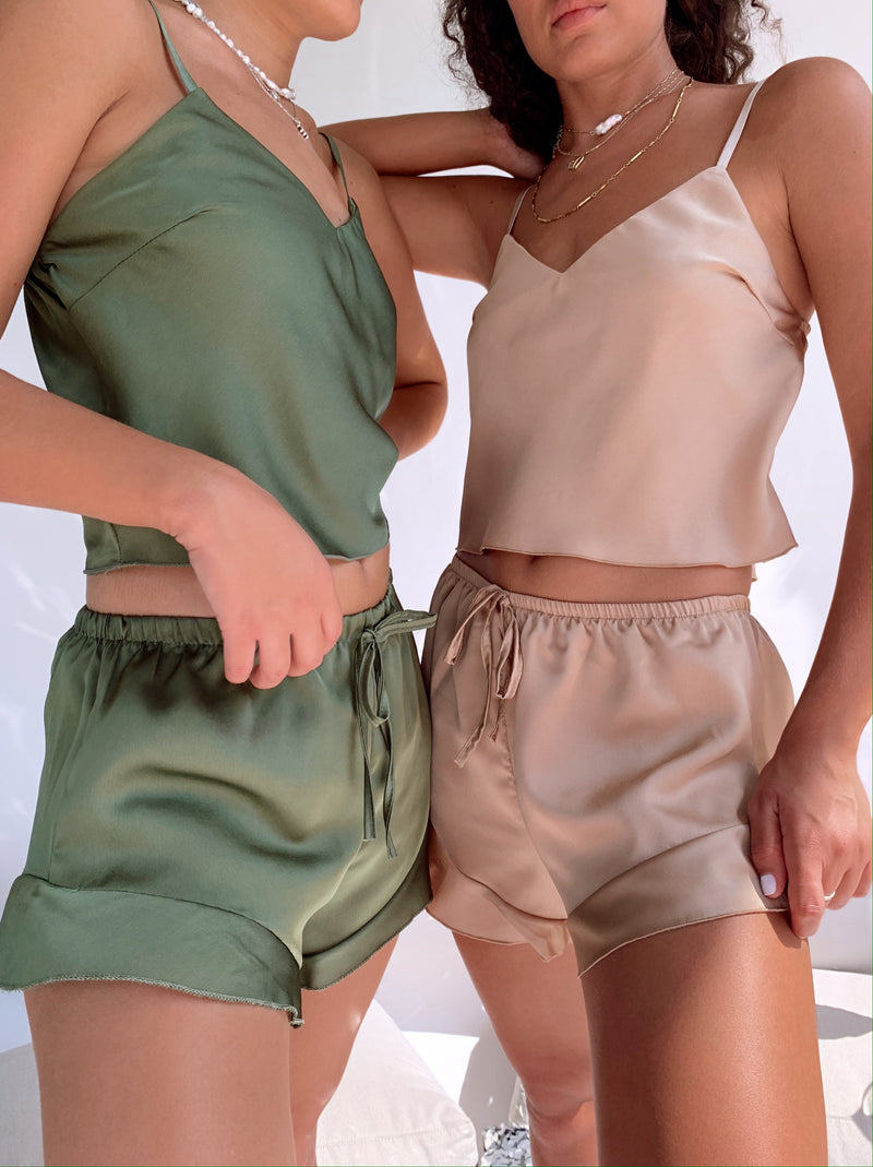 CAMI SATIN TOP WITH MATCHING SHORT IN BEIGE