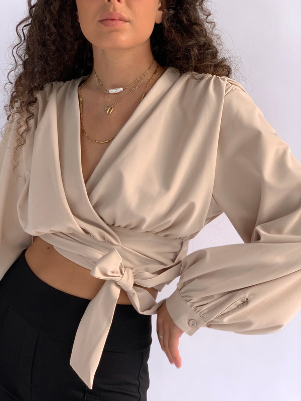 WRAP TOP WITH PADDED SHOULDER