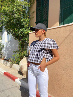 FRILL CROP TOP IN BLACK GINGHAM CHECK - Top - Shop Fashion at LE TRÉ