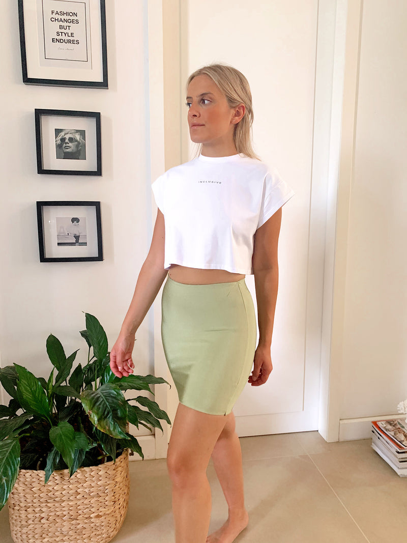 BODYCON MINI SKIRT IN LIGHT GREEN - Skirt - Shop Fashion at LE TRÉ
