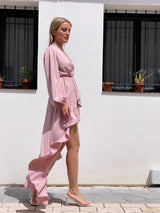 HIGH LOW MINI DRESS IN PINK