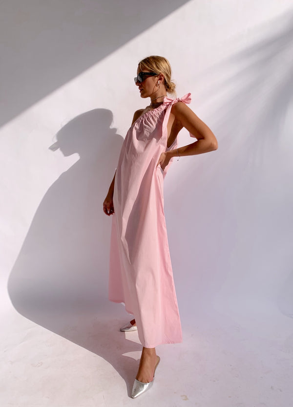ONE SHOULDER MAXI DRESS IN LIGHT PINK