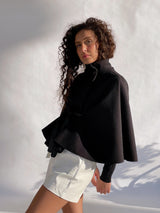 CAPE JACKET WITH TIE BELT IN BLACK