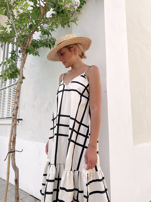 CHECKED LINEN DRESS - Dress - Shop Fashion at LE TRÉ