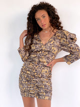 RUCHED DRESS WITH TIGER PRINT