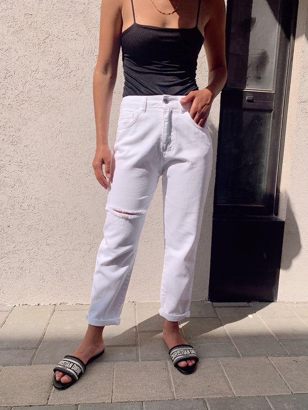 WHITE JEANS WITH RIPS - Jeans - Shop Fashion at LE TRÉ