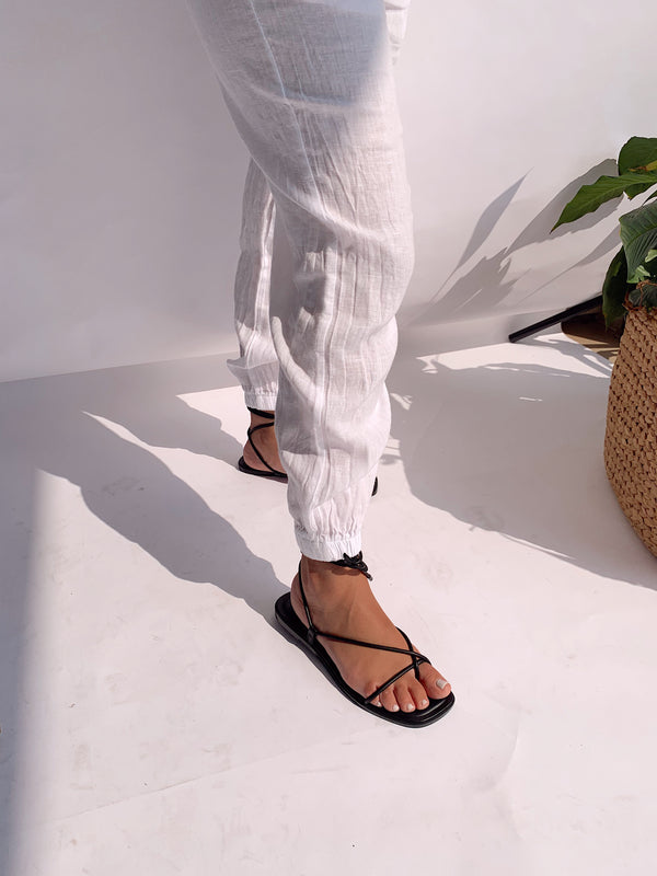 JOGGER LINEN TROUSER IN WHITE