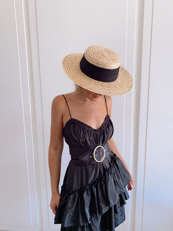 CAMI FRILL MINI DRESS IN BLACK - Dress - Shop Fashion at LE TRÉ