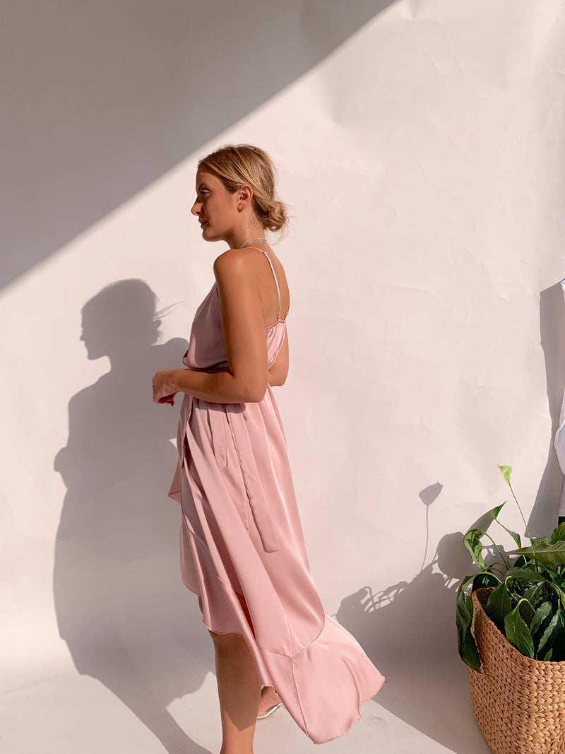 RUFFLE WRAP CAMI DRESS IN PINK
