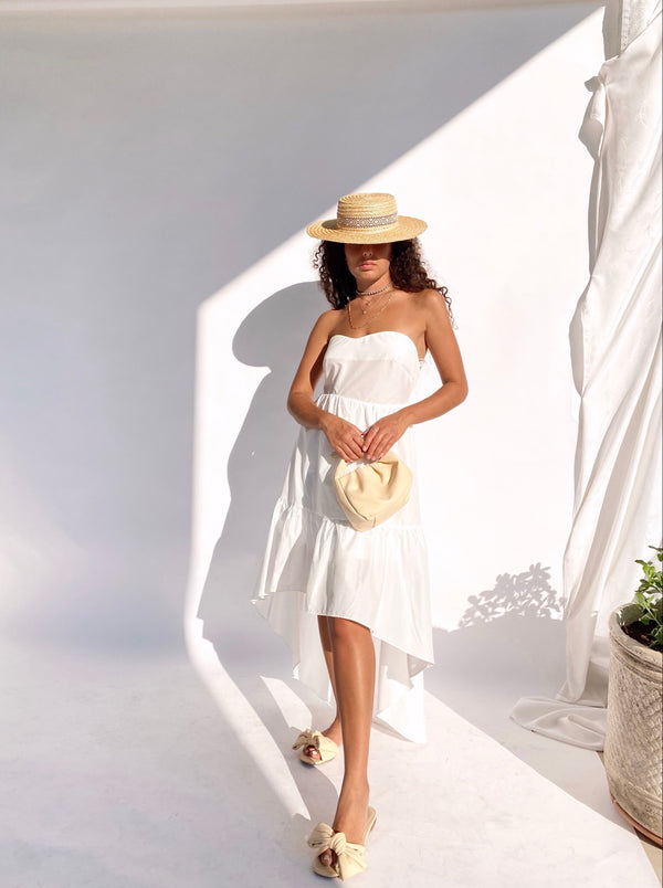 BANDEAU HIGH LOW DRESS IN WHITE