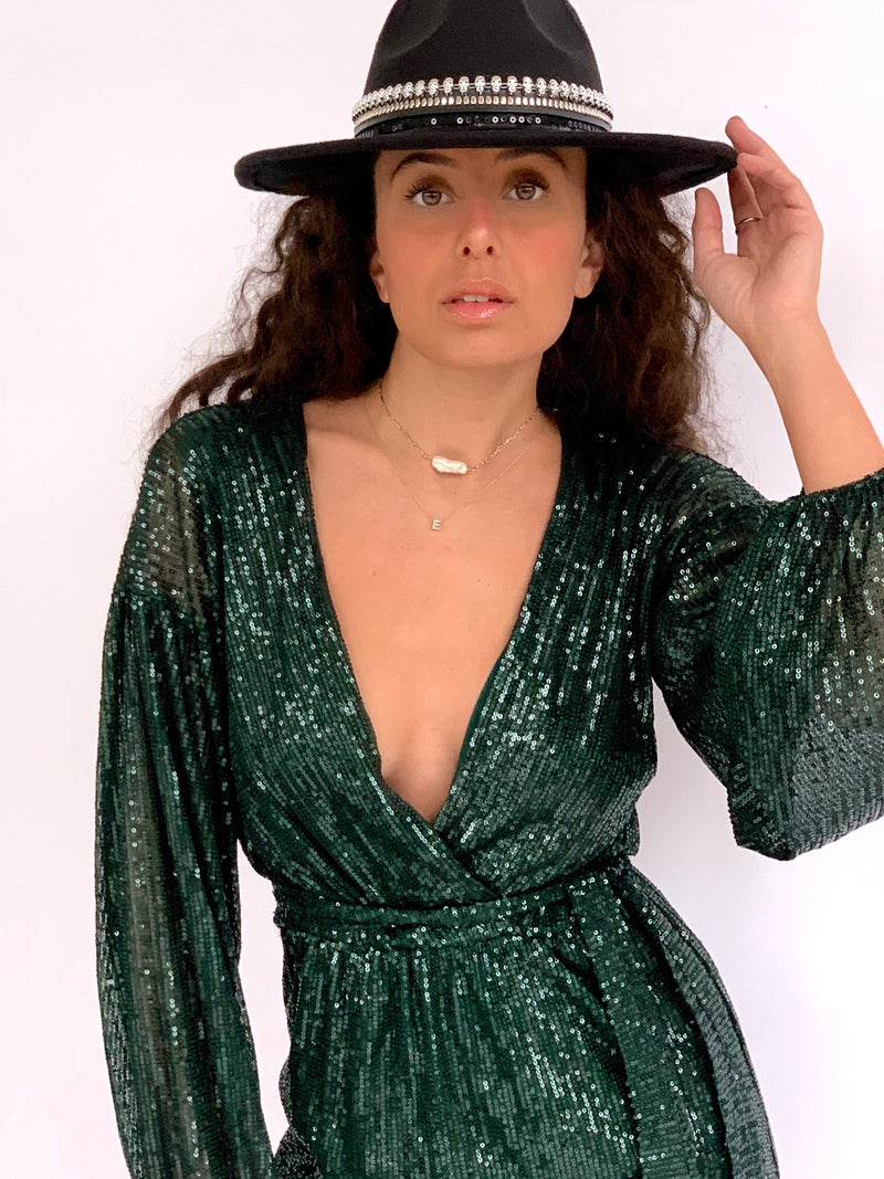 SEQUIN MINI DRESS WITH BALOON SLEEVE IN GREEN
