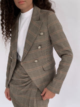 CHECKED TAILORED BLAZER WITH MATCHING SKIRT