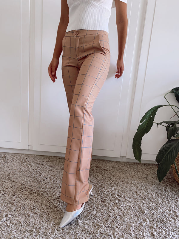 FLARE TROUSER IN LIGHT BROWN CHECK -  - Shop Fashion at LE TRÉ