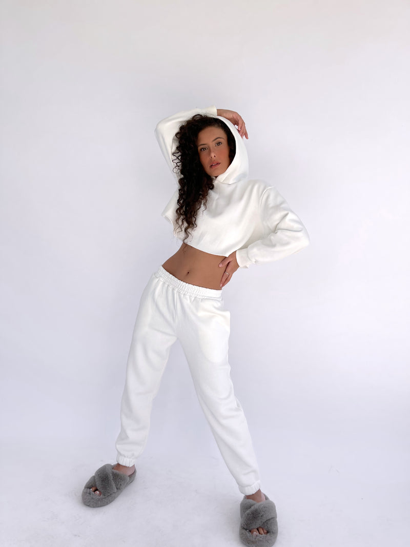 CROPPED HOODIE WITH MATCHING JOGGERS