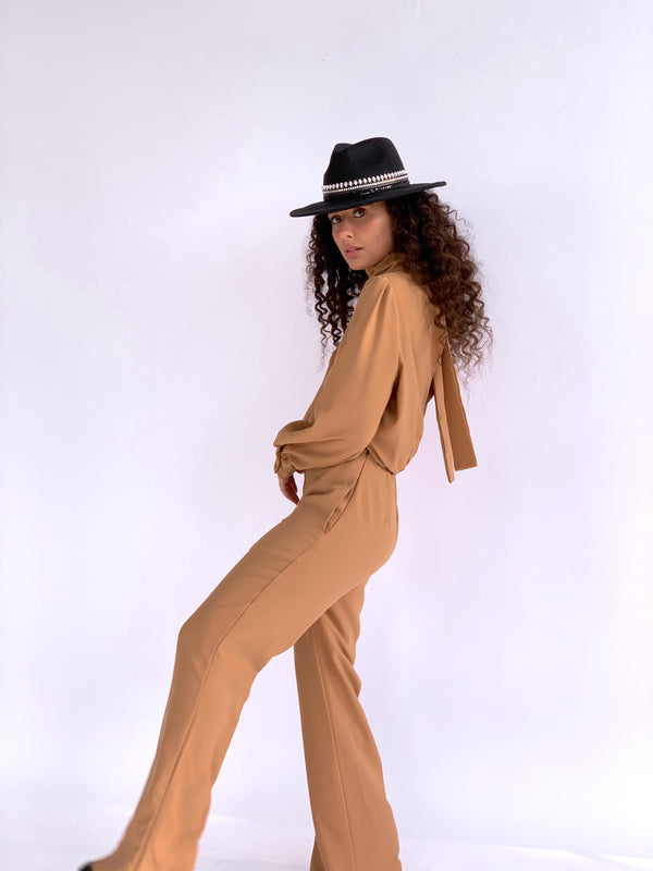 LONG SLEEVE JUMPSUIT WITH TIE NECK