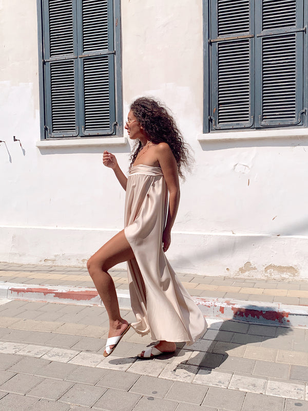 MAXI DRESS WITH SIDE SPLIT IN LIGHT BEIGE - Dress - Shop Fashion at LE TRÉ