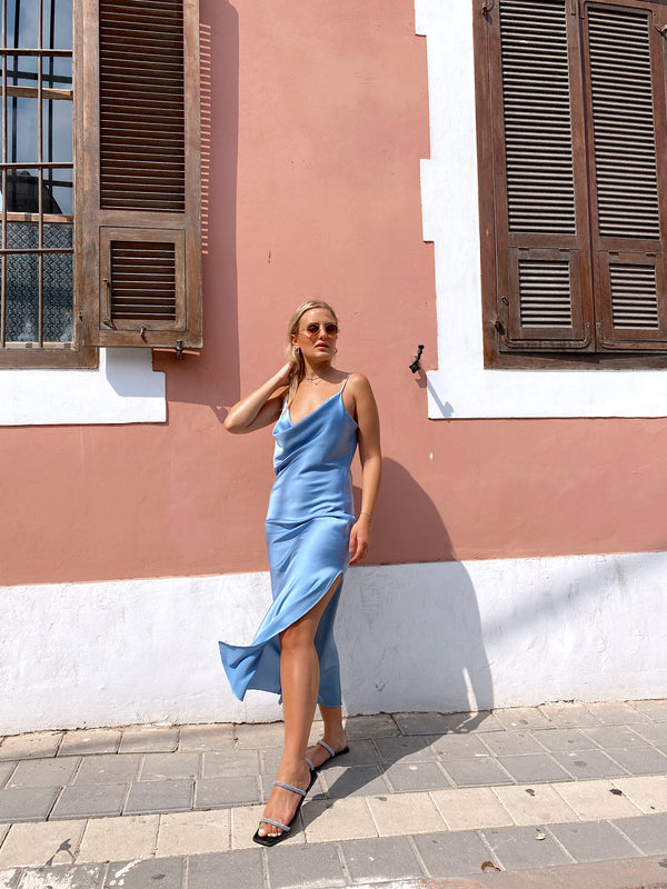 COWL NECK DRESS WITH SIDE SPLIT - Dress - Shop Fashion at LE TRÉ