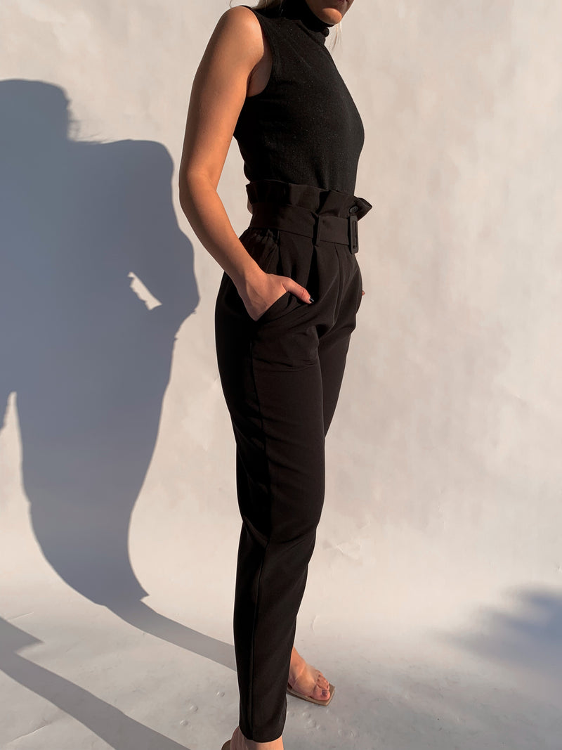 HIGH WAIST CIGARATTE TROUSER WITH BELT