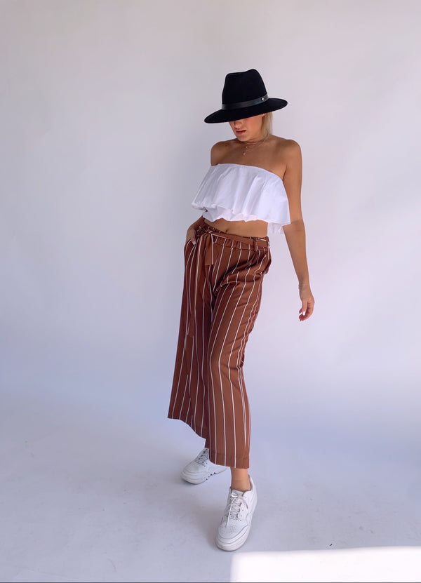 STRIPE CROPPED WIDE LEG