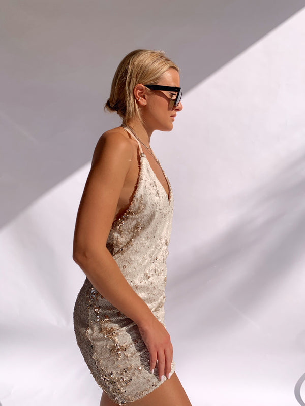 SEQUIN DRESS WITH HALTER NECK DRESS - Shop Fashion at LE TRE