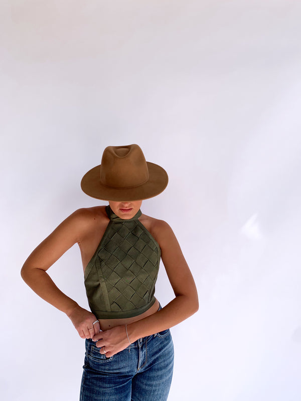 HIGH NECK CROP TOP IN GREEN