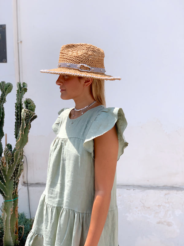 FRILL SLEEVE TIERED SMOCK DRESS IN GREEN