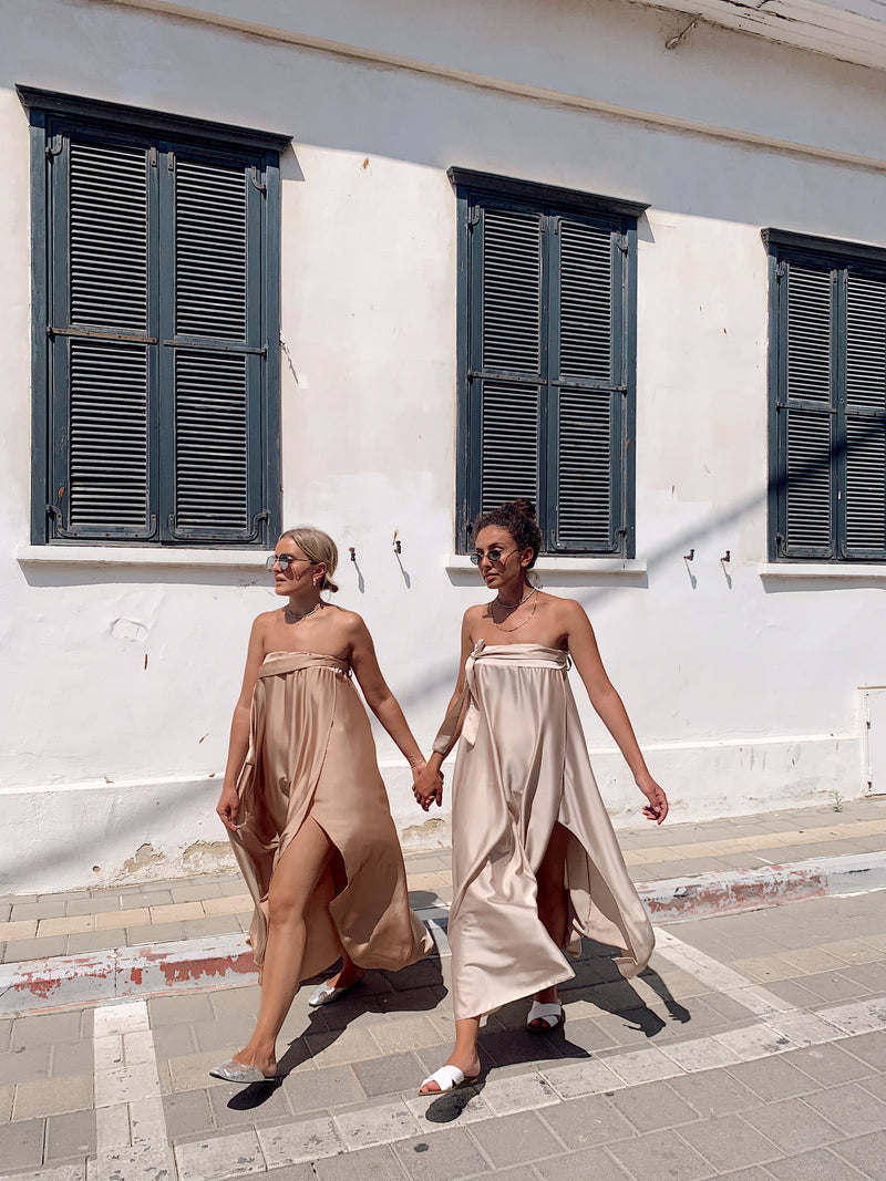 MAXI DRESS WITH SIDE SPLIT IN BEIGE - Dress - Shop Fashion at LE TRÉ