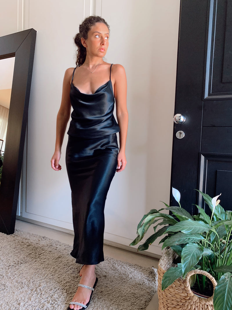 CAMI TOP WITH MATCH MAXI SKIRT IN BLACK SATIN