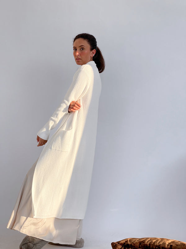 RIB MAXI CARDIGAN IN WHITE