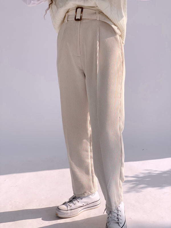 BELTED CORD TROUSER IN LIGHT BEIGE