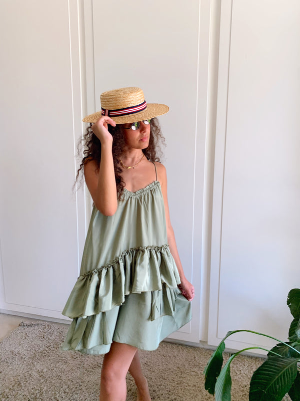 CAMI FRILL MINI DRESS IN GREEN - LE TRE