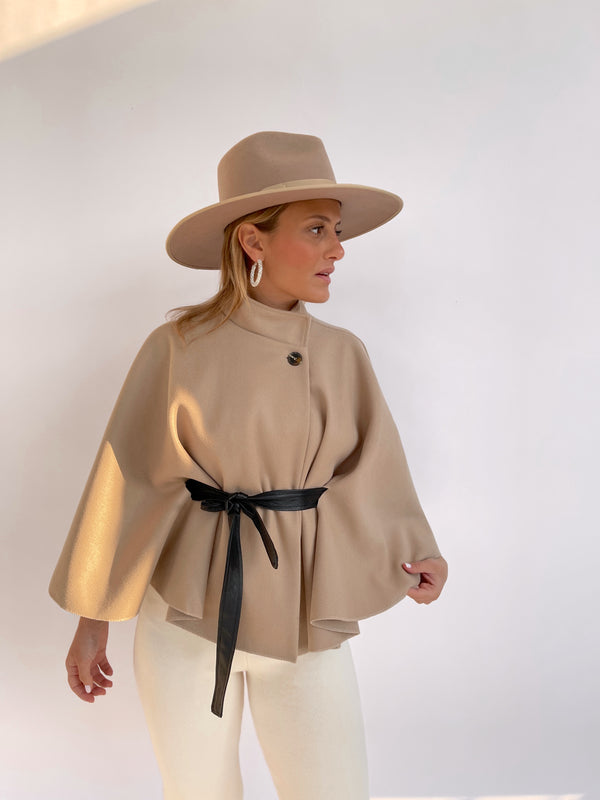 CAPE JACKET WITH TIE BELT IN LIGHT BEIGE