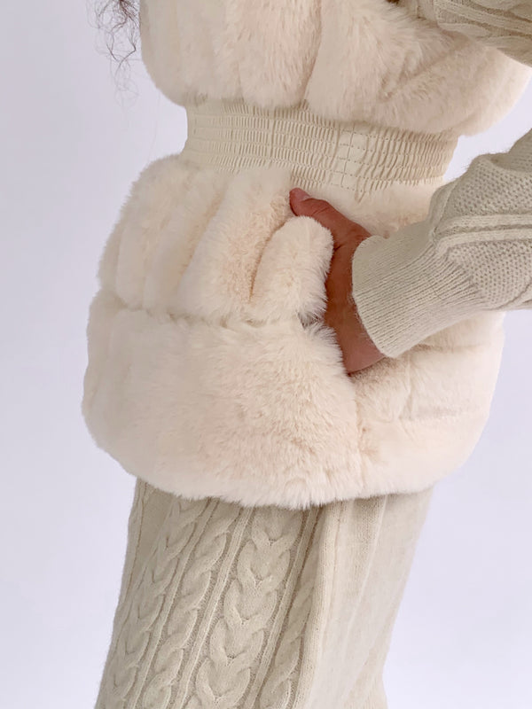 FAUX FUR GILET WITH WAIST DETAIL