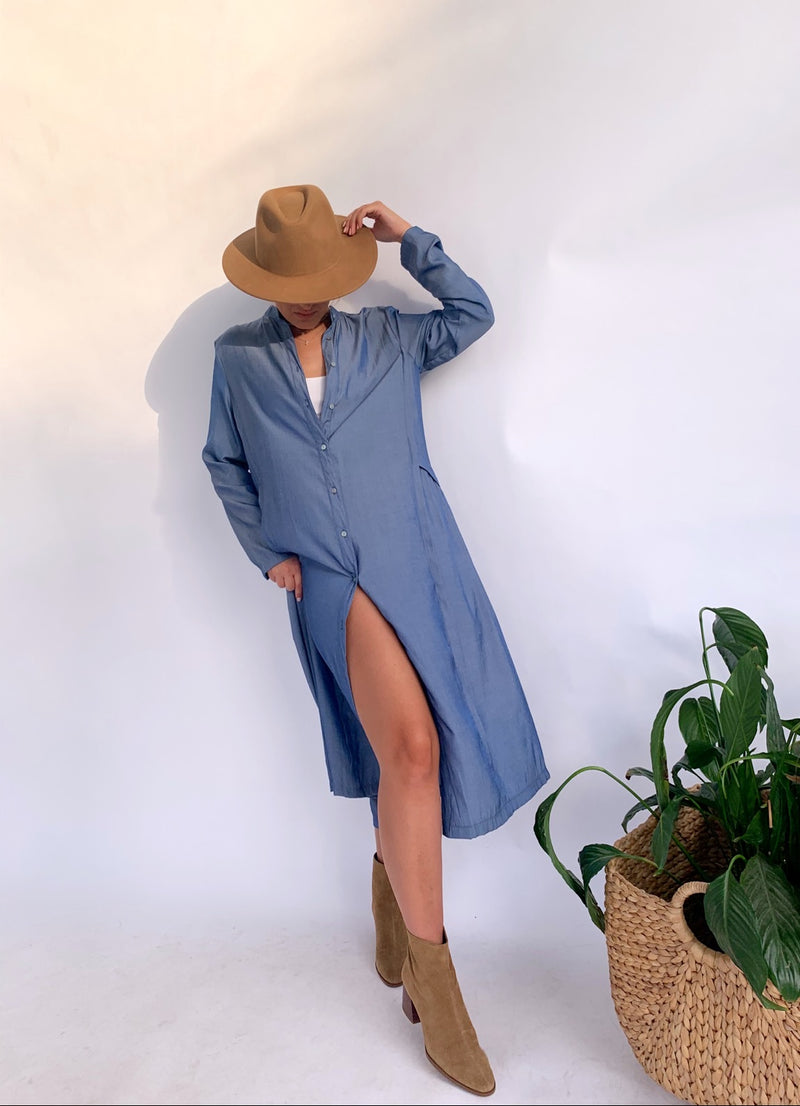 OVERSIZED BUTTON THROUGH DRESS