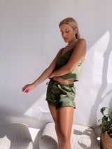 CAMI SATIN TOP WITH MATCHING SHORT IN GREEN