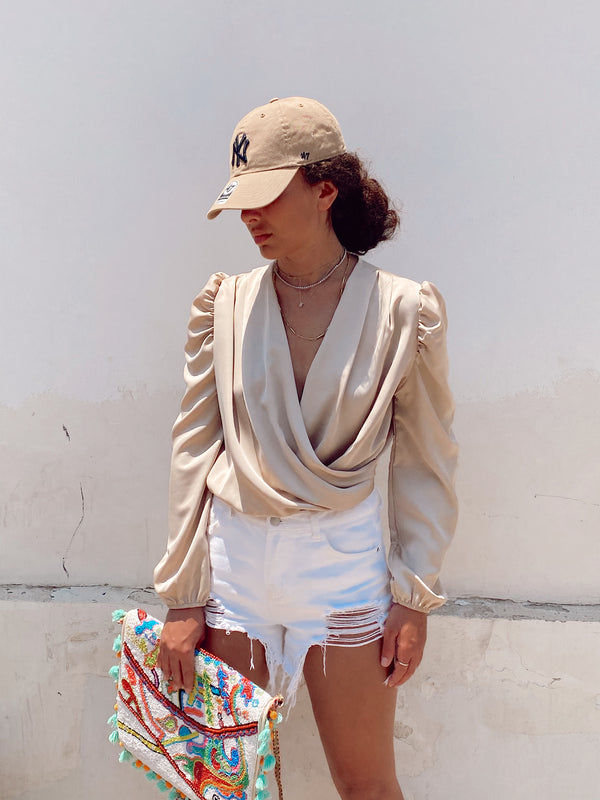 SATIN WRAP BODY IN BEIGE - Top - Shop Fashion at LE TRÉ
