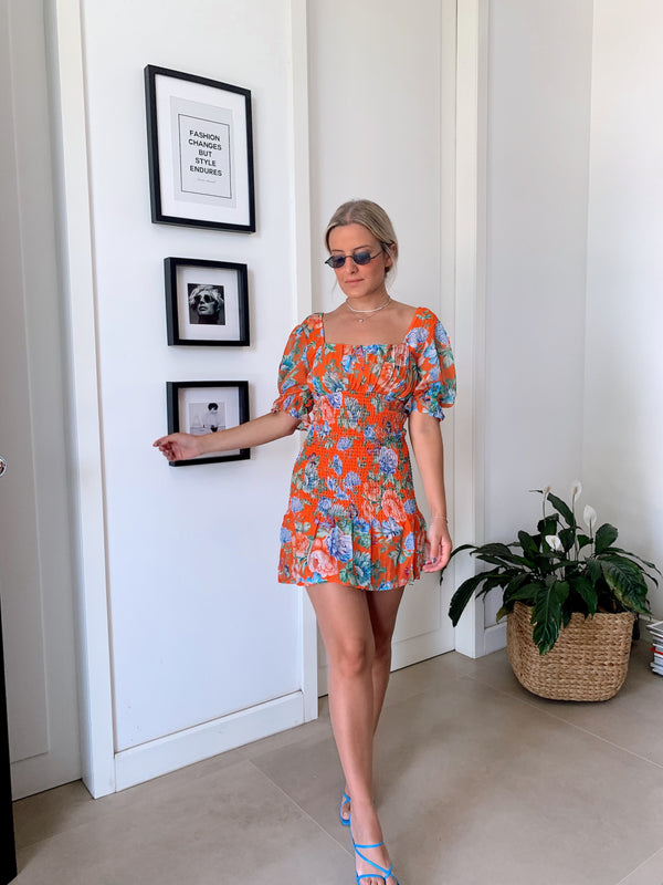 SHIRRED MINI DRESS WITH PUFF SLEEVE - Dress - Shop Fashion at LE TRÉ