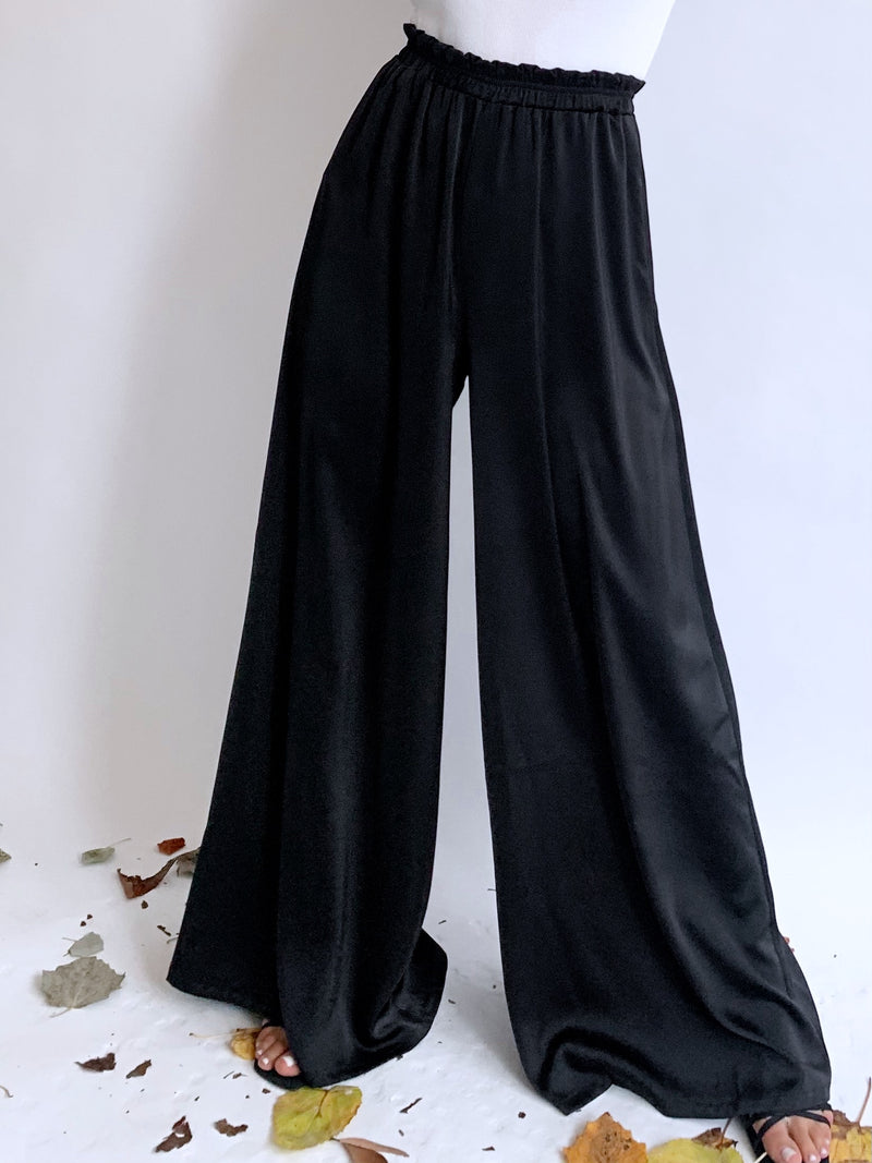 SATIN WIDE LEG TROUSER