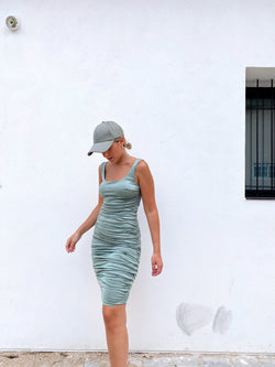 RUCHED BODYCON DRESS IN GREEN - Dress - Shop Fashion at LE TRÉ