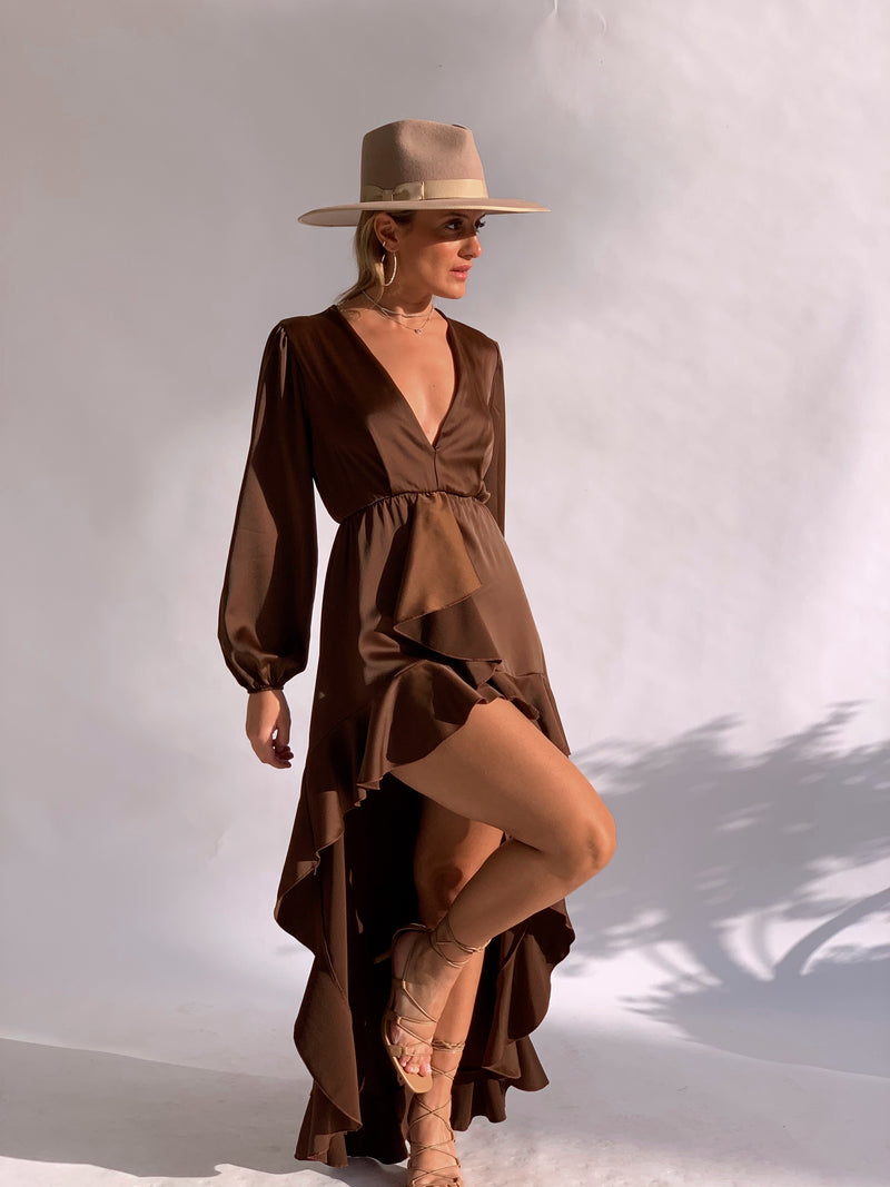 HIGH LOW MINI DRESS IN BROWN