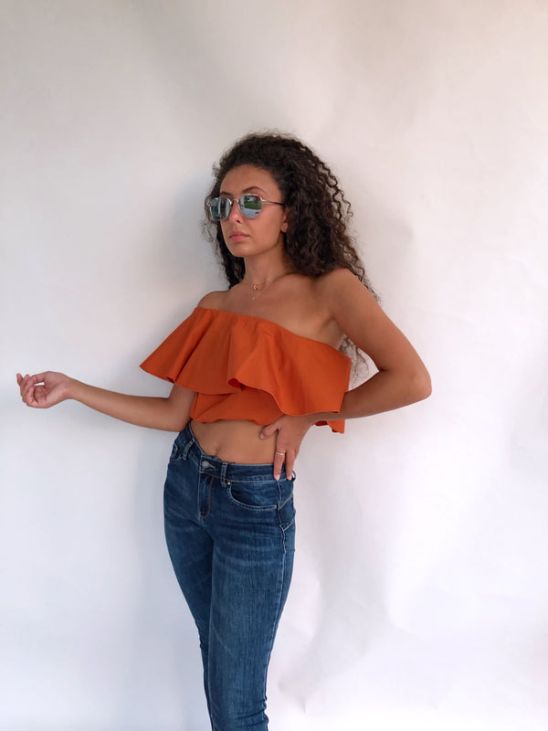 ONE SHOULDER CROP TOP IN ORANGE