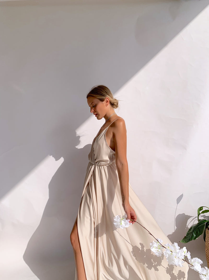SATIN CAMI MAXI DRESS IN BEIGE