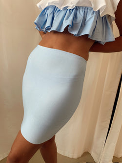 BODYCON MINI SKIRT IN LIGHT BLUE - Skirt - Shop Online at LE TRÉ