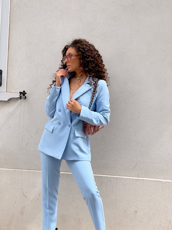DOUBLE BREASTED BLAZER WITH MATCHING TROUSER IN LIGHT BLUE